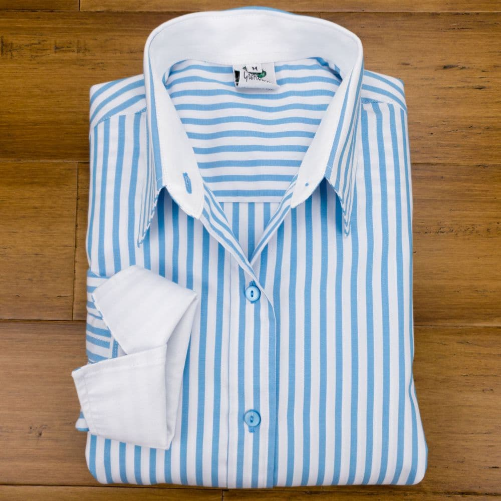 Grenouille Ladies Long Sleeve Turquoise Blue Stripe Cotton Twill Cocktail Cuff Shirt