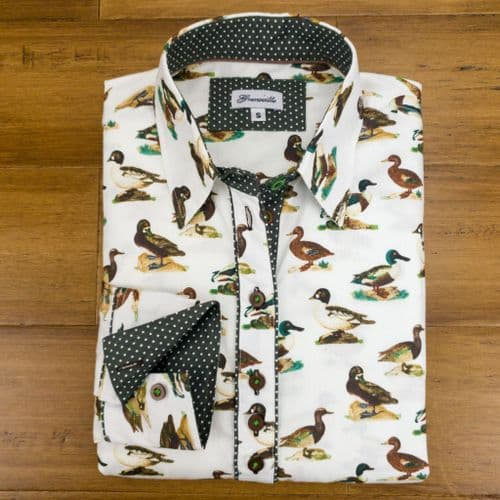 Grenouille Ladies Long Sleeve White Duck Print Shirt