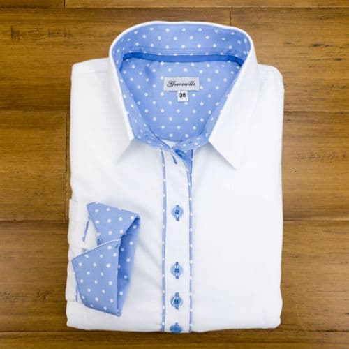 Grenouille Ladies Long Sleeve White Shirt with Blue and White Polka Dot Detail