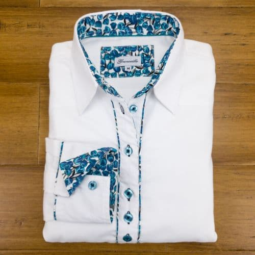 Grenouille Ladies Long Sleeve White Shirt with Blue Tulip Print Detail