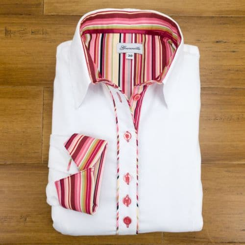 Grenouille Ladies Long Sleeve White Shirt with Burgundy and Pink Multi Stripe Detail