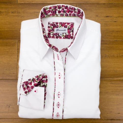 Grenouille Ladies Long Sleeve White Shirt with Dark Pink Tulip Detail