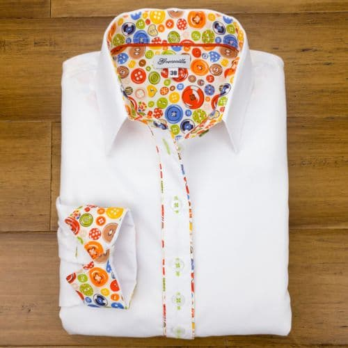 Grenouille Ladies Long Sleeve White Shirt with Orange Button Fabric Detail