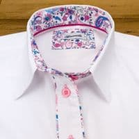 Grenouille Ladies Long Sleeve White Shirt with Pink and Blue Paisley Detail