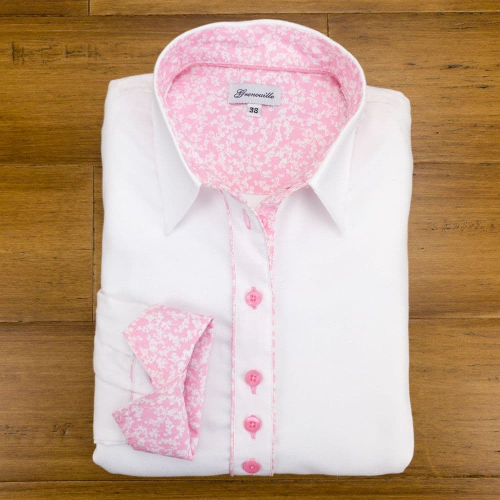 Grenouille Ladies Long Sleeve White Shirt with Pink and White Small Flower Detailing