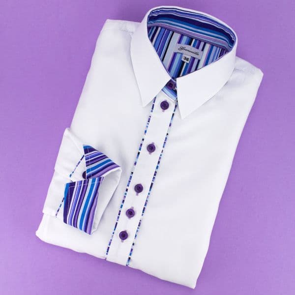 Grenouille Ladies Long Sleeve White Shirt with Purple Multi Stripe Detail