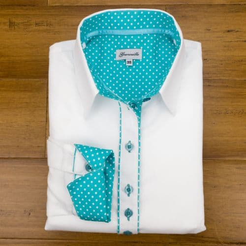 Grenouille Ladies Long Sleeve White Shirt with Spearmint Turquoise Green and White Polka Dot Accents