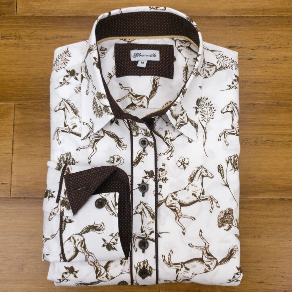 Grenouille Ladies Long Sleeve White Stretch Cotton Shirt with Brown Horse and Flower Design