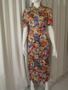 1930's Rayon satin floral printed vintage tea dress **SOLD**
