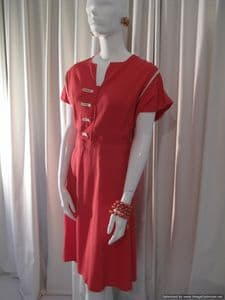 1940's Moss crepe coral and ivory vintage day dress **SOLD** es