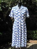 1940's Wedgewood blue and white polka dot vintage dress. **SOLD**