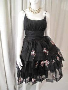 1950's Black silk organza embroidered bouquet vintage cocktail dress **SOLD**