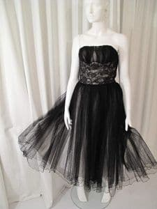 1950's Enchanting black lace and tulle vintage ballerina gown *on hold*