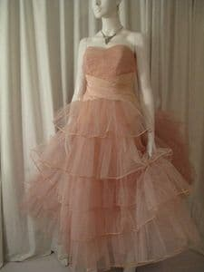 1950's Flesh pink tulle tiered strapless vintage ball gown *UK BUYERS ONLY* SOLD e