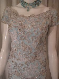 1950's Gorgeous Baby blue jewelled lace Siren vintage gown by Darnell UK BUYERS ONLY