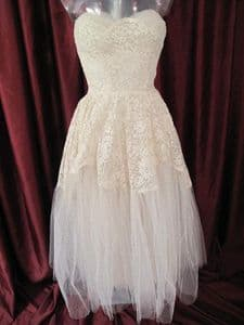 1950's Ivory lace and tulle strapless vintage wedding gown and lace cropped jacket **SOLD**