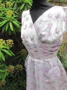1950's Pale Lilac satin brocade Vintage Dress UK Size 10-12 **SOLD**