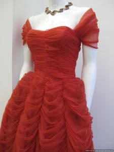 1950's Scarlet Red amazing ruched vintage ballgown *SOLD * es pp