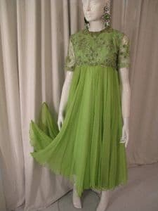 1960's Acid green silk chiffon beaded babydoll LILIANE of Highgate **SOLD**