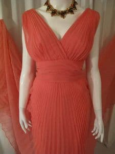 1960's Apricot crystal pleated chiffon vintage Grecian gown