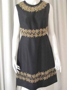 1960's Black crystal beaded vintage cocktail dress by Royal Fashions **SOLD**