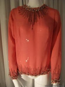 1960's Heavily beaded georgette vintage evening blouse **SOLD**