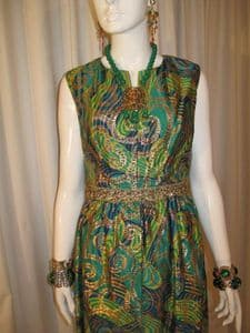 1960's Ornate gold and emerald brocade vintage cocktail gown. British Crown Colony Hong Kong **SOLD**