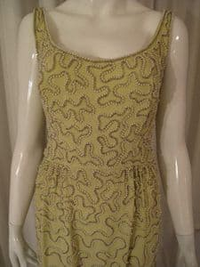 1960's Pale pistachio green, pearl encrusted gown *UK BUYERS ONLY*