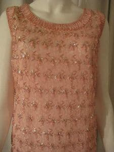 1960's Vintage Candy pink beaded lace tassel dress. Miss Rose Couture ***SOLD***