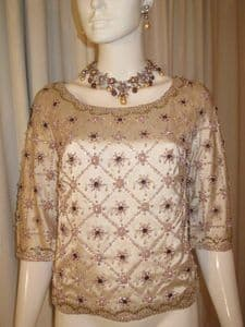 1960's Vintage GIVENCHY oyster silk satin jewelled evening top