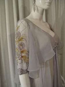 1970's Cloud grey chiffon beaded floaty dream vintage dress JEAN VARON **SOLD**
