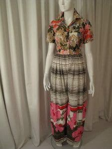 1970's Floral and stripe printed vintage catsuit California Calliope **SOLD**