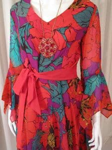 1970's Floral printed georgette vintage dress Peterson Maid of London **SOLD**