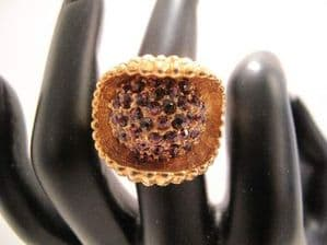 1970's Gold tone and amethyst dress ring **SOLD**