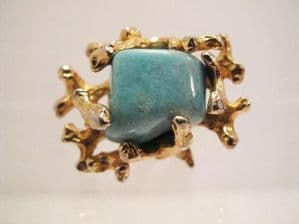 1970's Ornate turquoise 'mermaid' ring.**SOLD**
