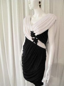 1980's Black and white draped and ruched jersey vintage dress by Filigree **SOLD** es