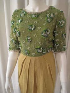 1980's Chartreuse beaded silk vintage cocktail dress