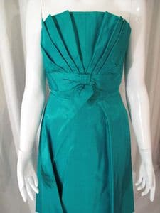 Early 1950's Jade green taffetta strapless vintage dress by Capricorn **SOLD**