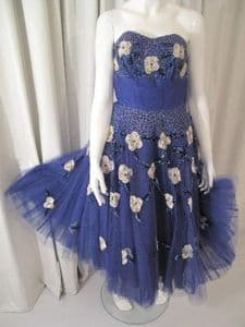 Early 1950's Midnight blue strapless vintage party dress. Laura Philips **SOLD**