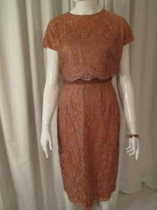Early 1960's Caramel and gold lace vintage two piece ensemble.
