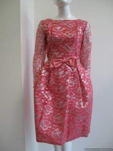 Early 1960's Flamingo pink and silver lame lace tulip skirt vintage cocktail dress **SOLD**
