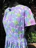 Early 1960's Tricel violet and turquoise floral dress **SOLD** es 30