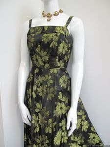 Late 1940's Floral Jacquard Satin vintage gown **SOLD** es