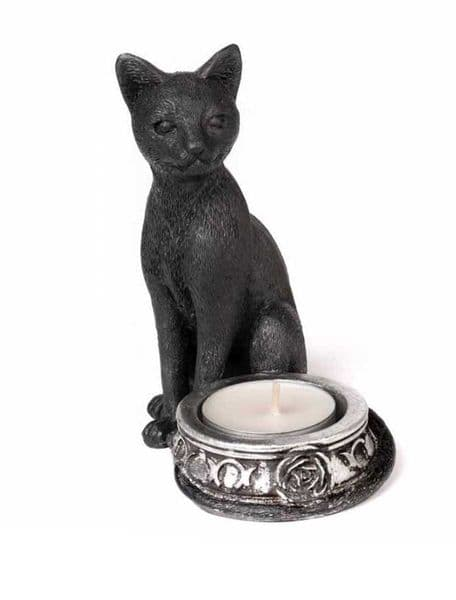 ALCHEMY GOTHIC Black Cat T-Light Candle Holder