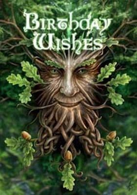 Anne Stokes Birthday Wishes Oak King PAGAN Greeting Card