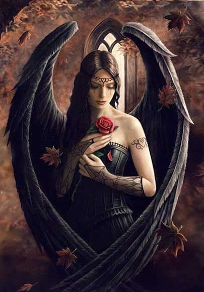 ANNE STOKES Gothic Angel Rose Greeting Card