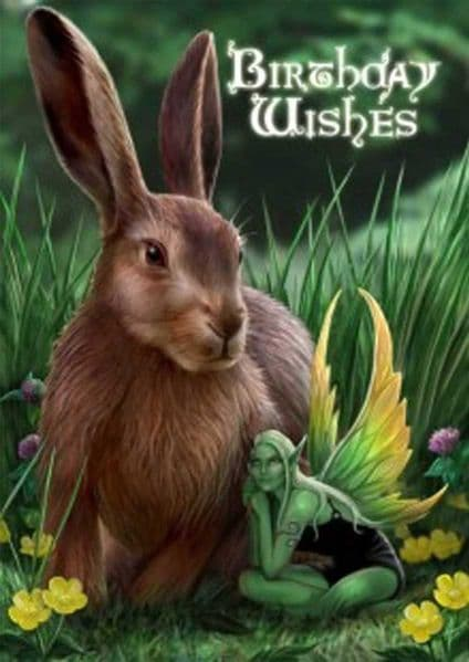 ANNE STOKES Hare and Sprite Magical Birthday Greeting Card