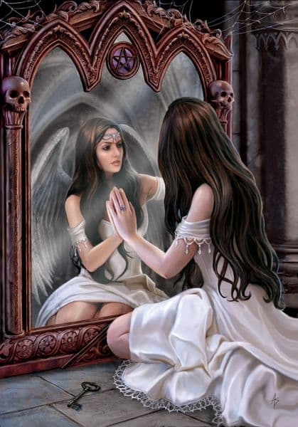 Anne Stokes Magical Mirror Gothic Angel Greeting Card