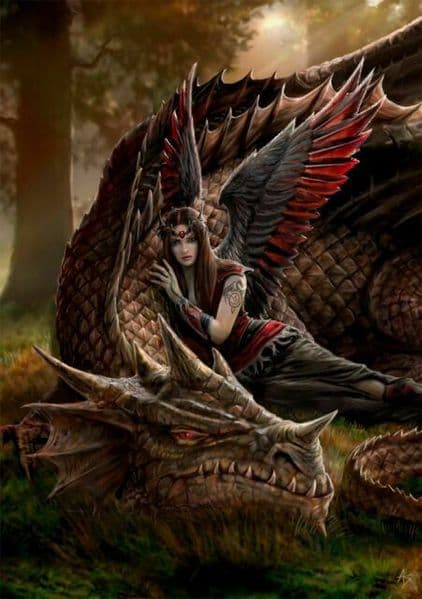 ANNE STOKES Winged Companions Dragon Greeting Card