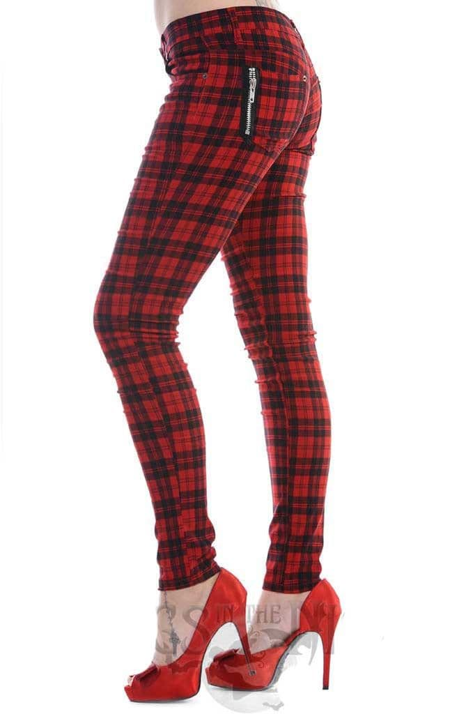 BANNED Ladies Gothic Black / Red Check Skinny Jeans | Punk Fashion